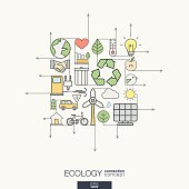 Ecology integrated thin line symbols. Modern color style vector concept