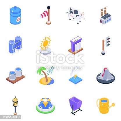 Here we have alluring visuals of ecology isometric icons with editable quality and make your upcoming isometric design related projects more captivating. Download these most worthy isometric icons.