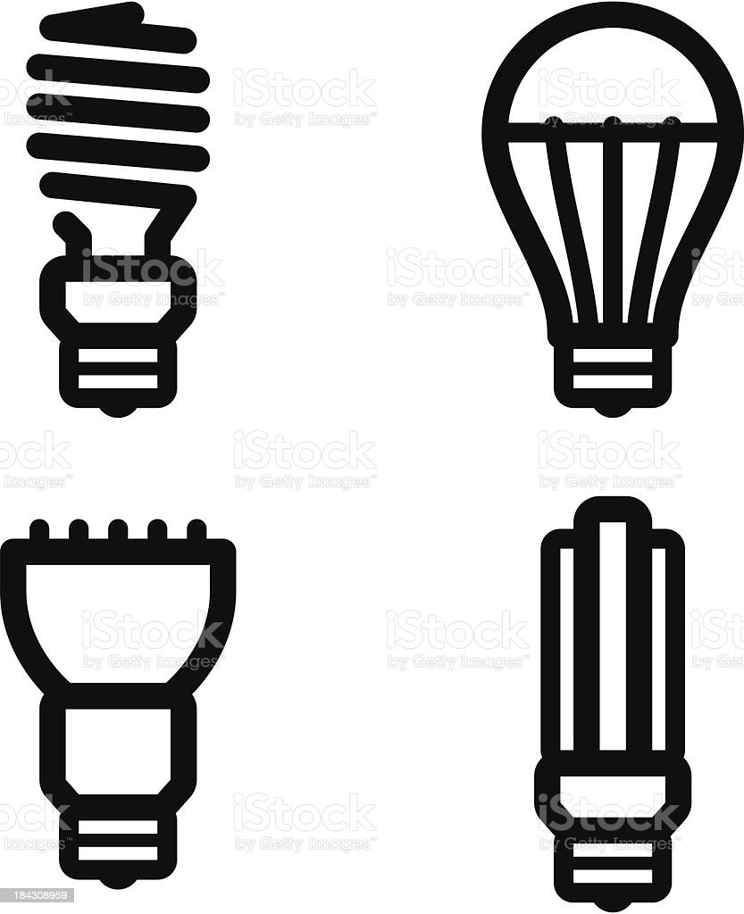Ecology lamp pictograms vector art illustration