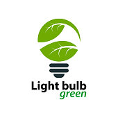 Ecology light bulb green logo icon design templat on White Background,Vector Illustration
