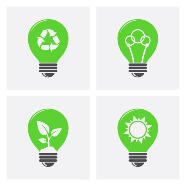 Ökologie-Glühbirne-Symbole. Grüne, umweltfreundliche Energie-Konzept-Symbole – Vektorgrafik