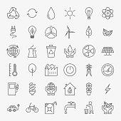 Ecology Line Art Design Icons Big Set