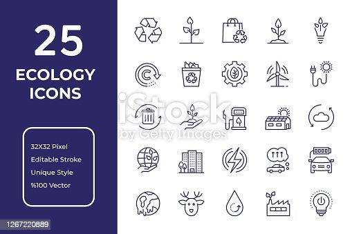 Ecology Vector Style Editable Stroke Line Icon Set
