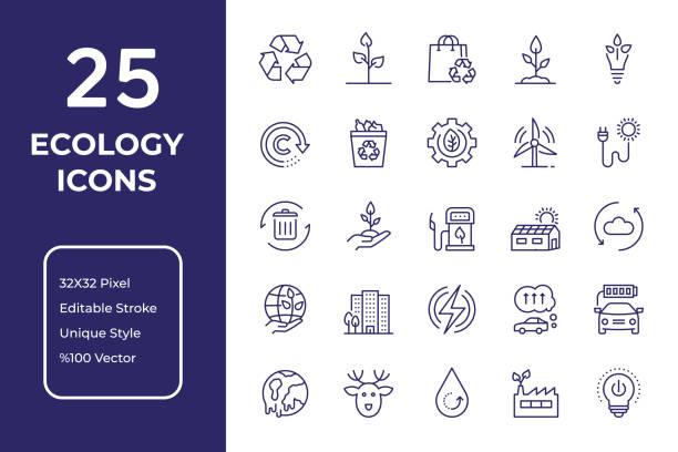 ökologie linie icon design - nachhaltigkeit stock-grafiken, -clipart, -cartoons und -symbole
