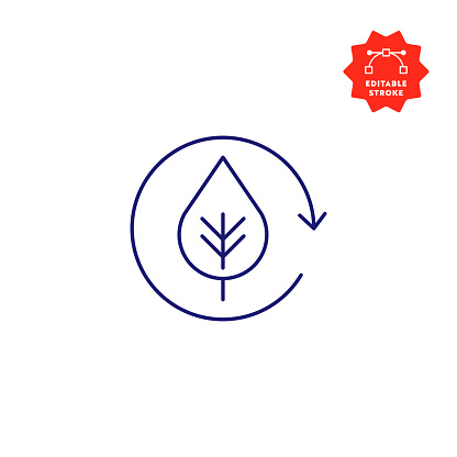 Ecology Line Icon with Editable Stroke and Pixel Perfect.