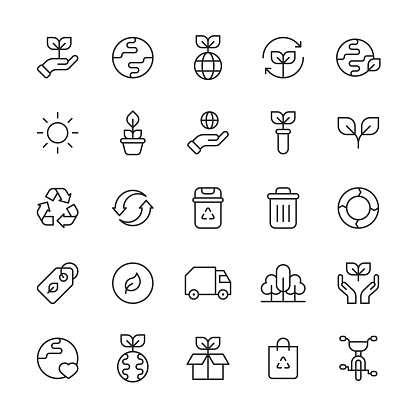 Ecology Line Icons. Editable Stroke. Pixel Perfect. For Mobile and Web. Contains such icons as Agriculture, Charity, Climate, Donation, Earth, Electric Vehicle, Energy, Environment, Flower, Global Warming, Leaf, Nature, Plant, Recycling, Solar Energy.