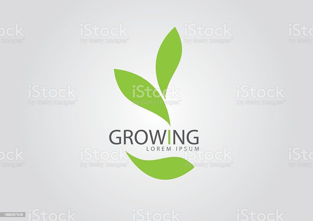 ecology logo - green design - growth vector vector art illustration