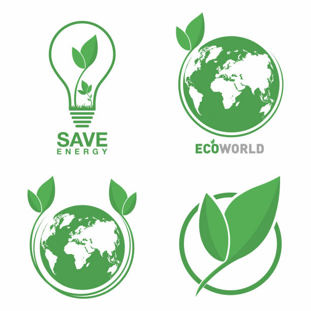 Ecology logo set. Eco world, green leaf, energy saving lamp symbol. Eco friendly concept for company logo Ecology logo set. Eco world, green leaf, energy saving lamp symbol. Eco friendly concept for company logo. Vector salvation stock illustrations