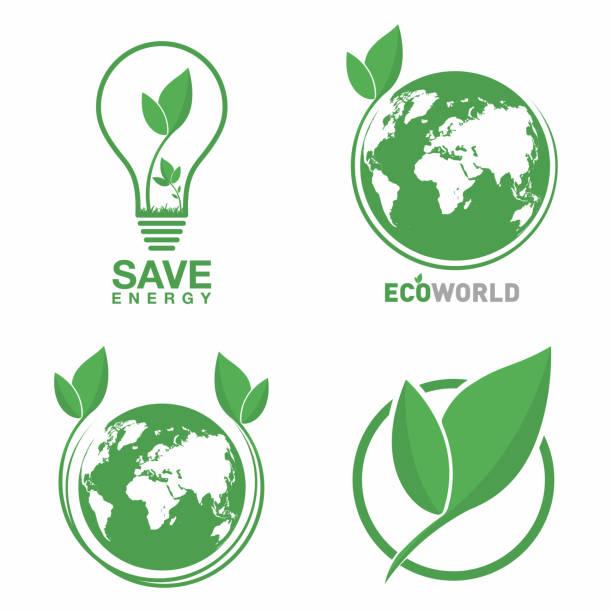 Ecology logo set. Eco world, green leaf, energy saving lamp symbol. Eco friendly concept for company logo Ecology logo set. Eco world, green leaf, energy saving lamp symbol. Eco friendly concept for company logo. Vector rescue stock illustrations