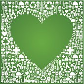 Heart shape in green icons set background. Vector file available.