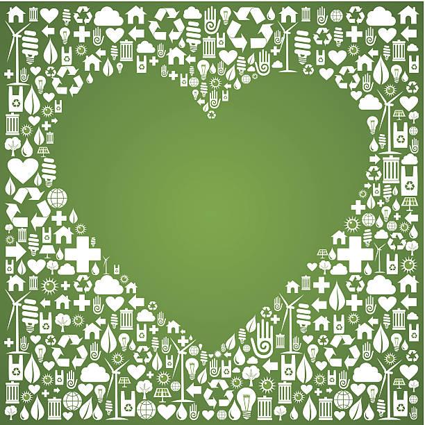 bildbanksillustrationer, clip art samt tecknat material och ikoner med ecology love concept icons background - recycling heart
