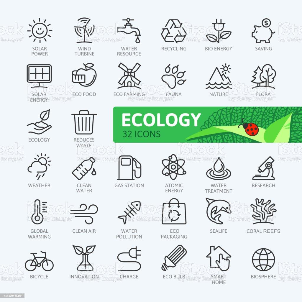 Conjunto de iconos de web de mínima delgada línea ecología. Colección de iconos de contorno. Ilustración vectorial simple - ilustración de arte vectorial