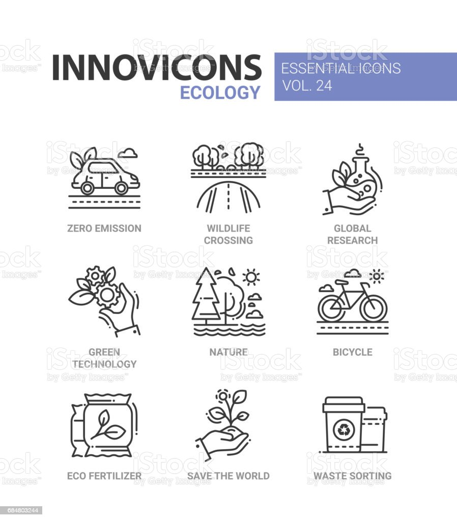 Ecology - modern color vector single line icons set vector art illustration