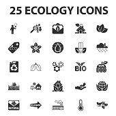 Ecology, nature, bio 25 black simple icons set for web