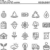 Ecology, nature, clean energy, recycling and more, thin line icons