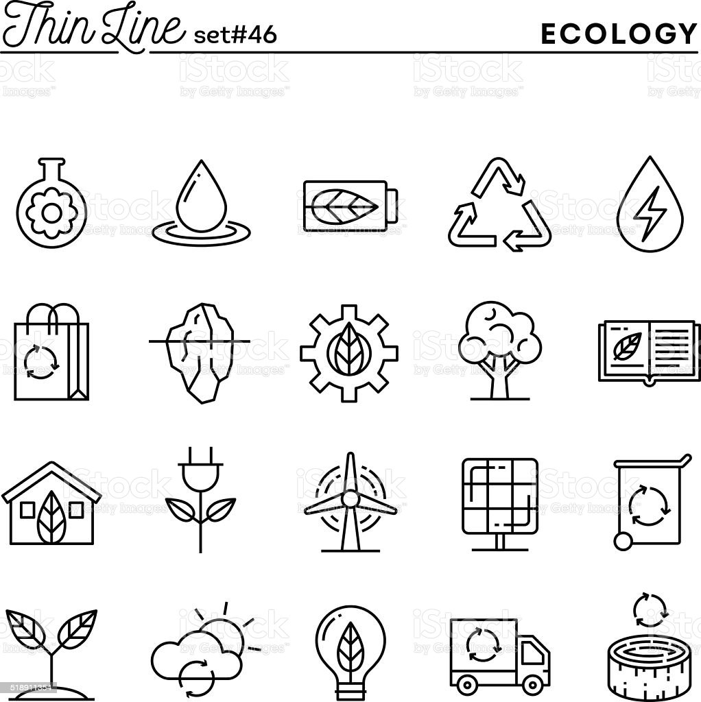 Ecology, nature, clean energy, recycling and more, thin line icons vector art illustration