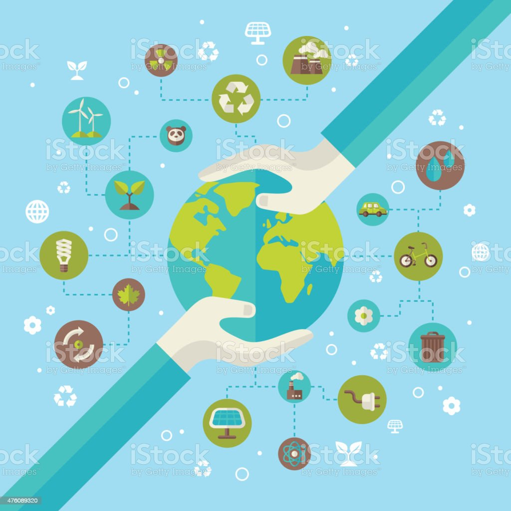 Ecology network connection concept with hands holding Earth. vector art illustration
