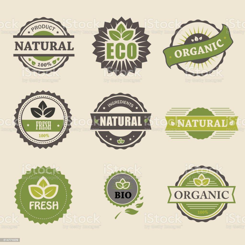 Ecology, organic icon set. Eco-icons vector art illustration
