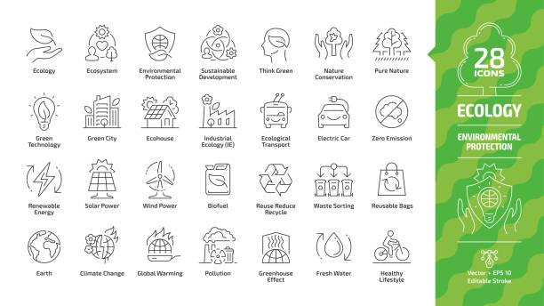 illustrations, cliparts, dessins animés et icônes de icône de contour d'écologie ensemble avec l'éco-ville, la technologie verte, les énergies renouvelables, la protection de l'environnement, le développement durable, la conservation de la nature, la voiture électrique et la terre symboles de lig - développement durable