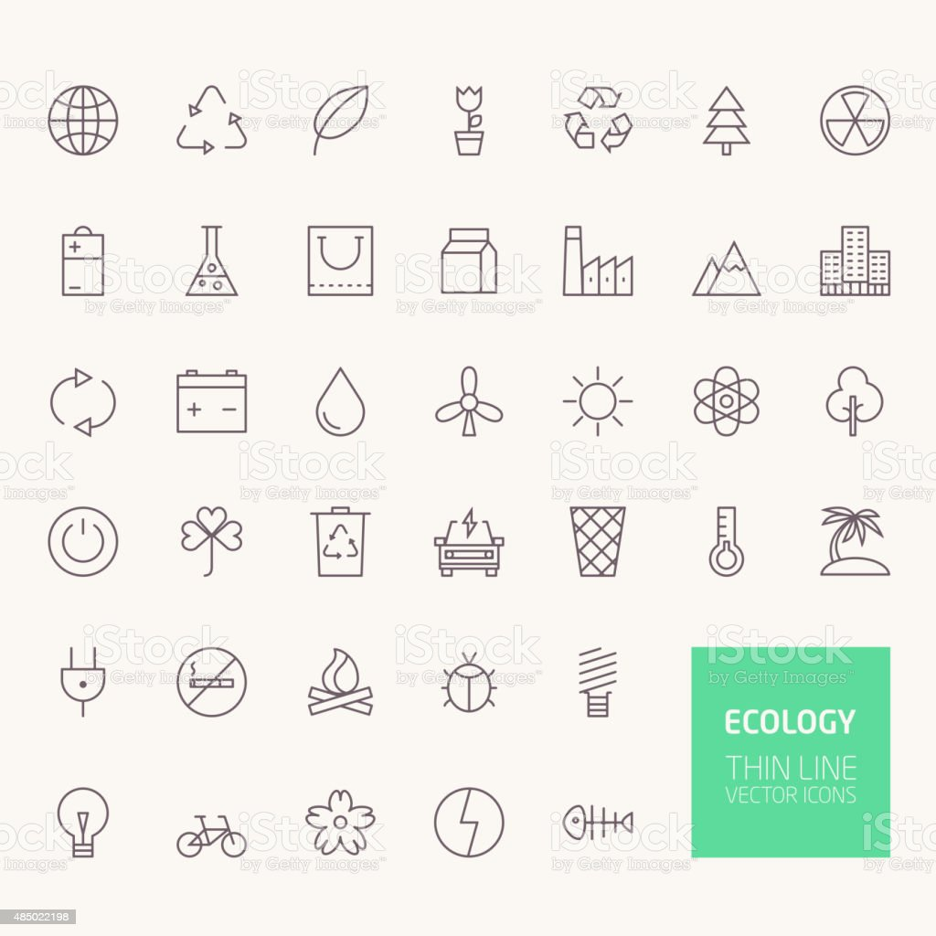 Ecology Outline Icons for web and mobile apps vector art illustration