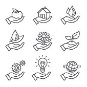 environmental conservation outline icons set