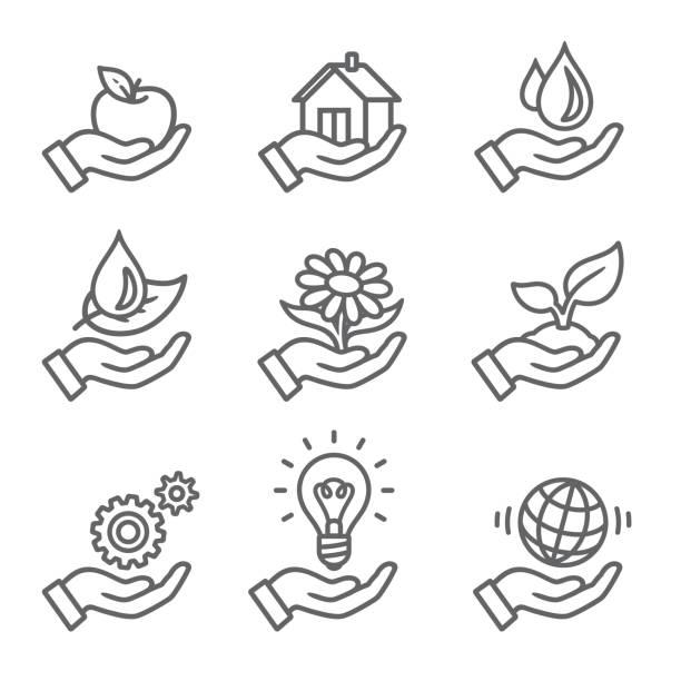 Ikonen der Ökologie outline – Vektorgrafik