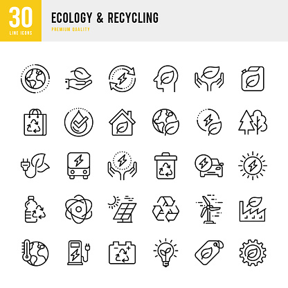 Ecology & Recycling - set of line vector icons. Pixel Perfect. Set contains such icons as Climate Change, Alternative Energy, Recycling, Green Technology