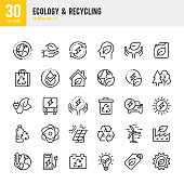 Ecology & Recycling - set of line vector icons. Pixel Perfect. Set contains such icons as Climate Change, Ozone Layer, Biofuel, Alternative Energy, Recycling, Green Technology.