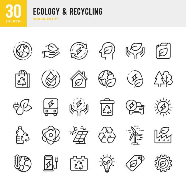 生態與回收 - 一組線向量圖示。圖元完美。設置包含諸如氣候變化、替代能源、回收、綠色技術等圖示 - 大自然 幅插畫檔、美工圖案、卡通及圖標