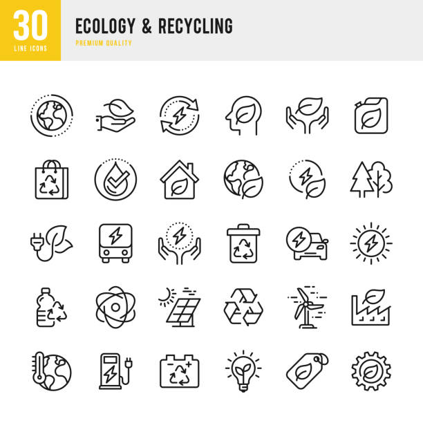 Ecology & Recycling - set of line vector icons. Pixel Perfect. Set contains such icons as Climate Change, Alternative Energy, Recycling, Green Technology Ecology & Recycling - set of line vector icons. Pixel Perfect. Set contains such icons as Climate Change, Ozone Layer, Biofuel, Alternative Energy, Recycling, Green Technology. environment stock illustrations