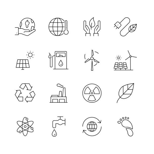 ilustrações, clipart, desenhos animados e ícones de ecologia-jogo da linha fina ícones do vetor - sustainability icons
