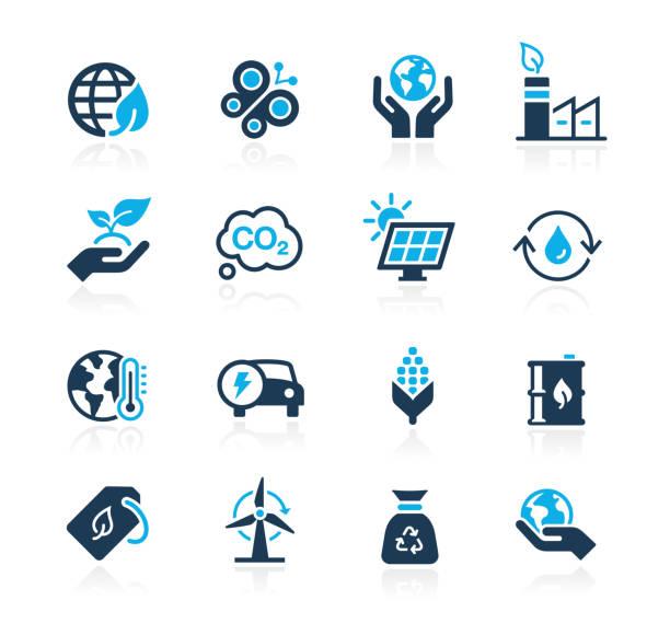 ekologia & ikony energii odnawialnej // seria azure - ręka człowieka stock illustrations