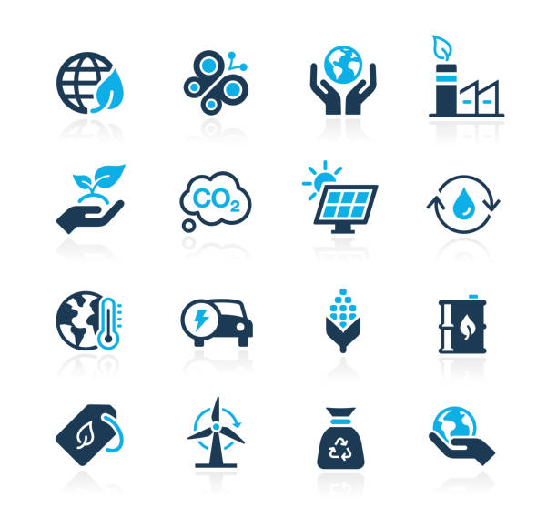 illustrazioni stock, clip art, cartoni animati e icone di tendenza di ecology & renewable energy icons // azure-series - climate change