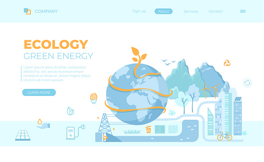 Ecology, Saving the earth, Green Eco city planet, Eco-friendly conservation concept ideas. Solar panels, wind turbines, bio technology, save energy. Can use for web banner, landing page, web template.