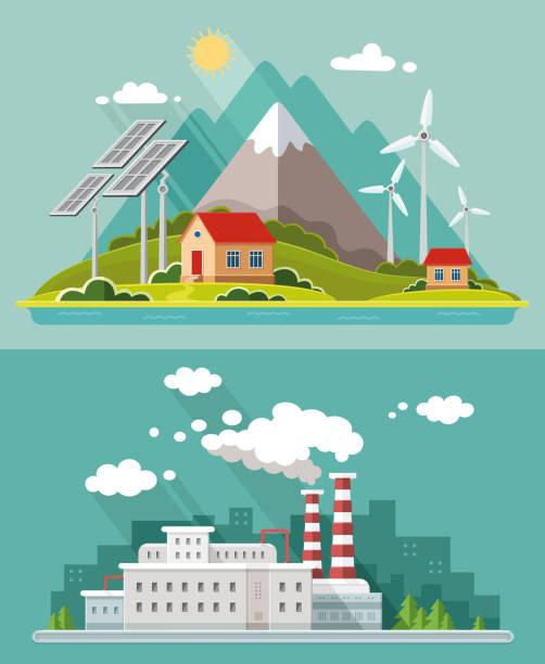 Ecology set. Environment, green energy. Eco life, emissions, nature pollution concept. Flat style vector illustration Ecology set. Environment, green energy. Eco life, emissions, nature pollution concept. Flat style vector illustration power station stock illustrations