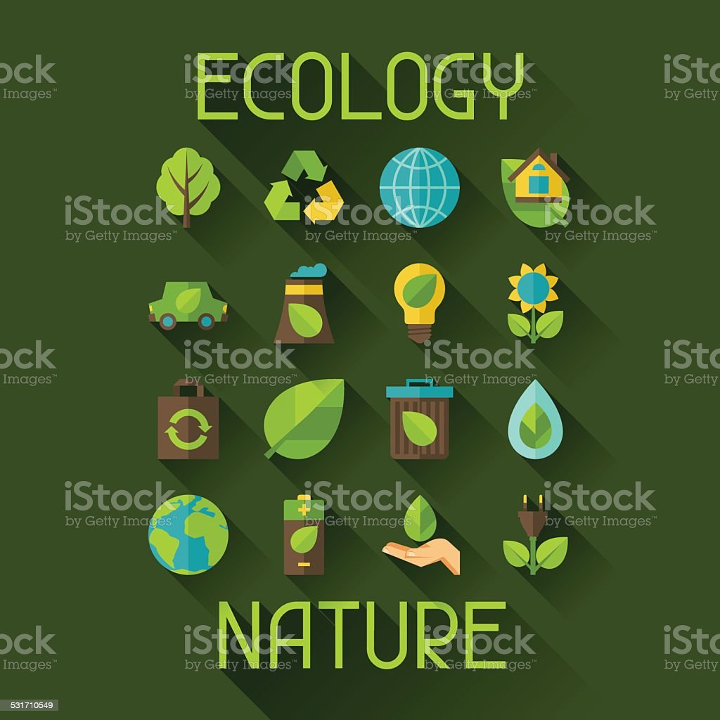 Ecology set of environment and pollution icons. vector art illustration