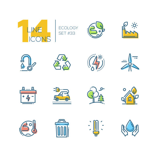 ecology - set of line design style icons - environmental icons stock illustrations