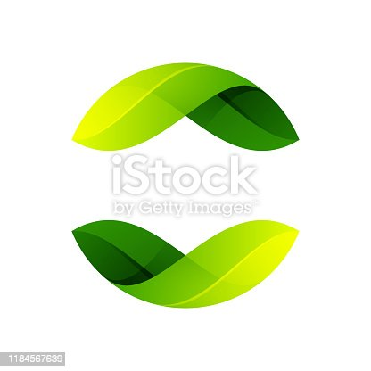 istock Ecology sphere logo formed by twisted green leaves. 1184567639