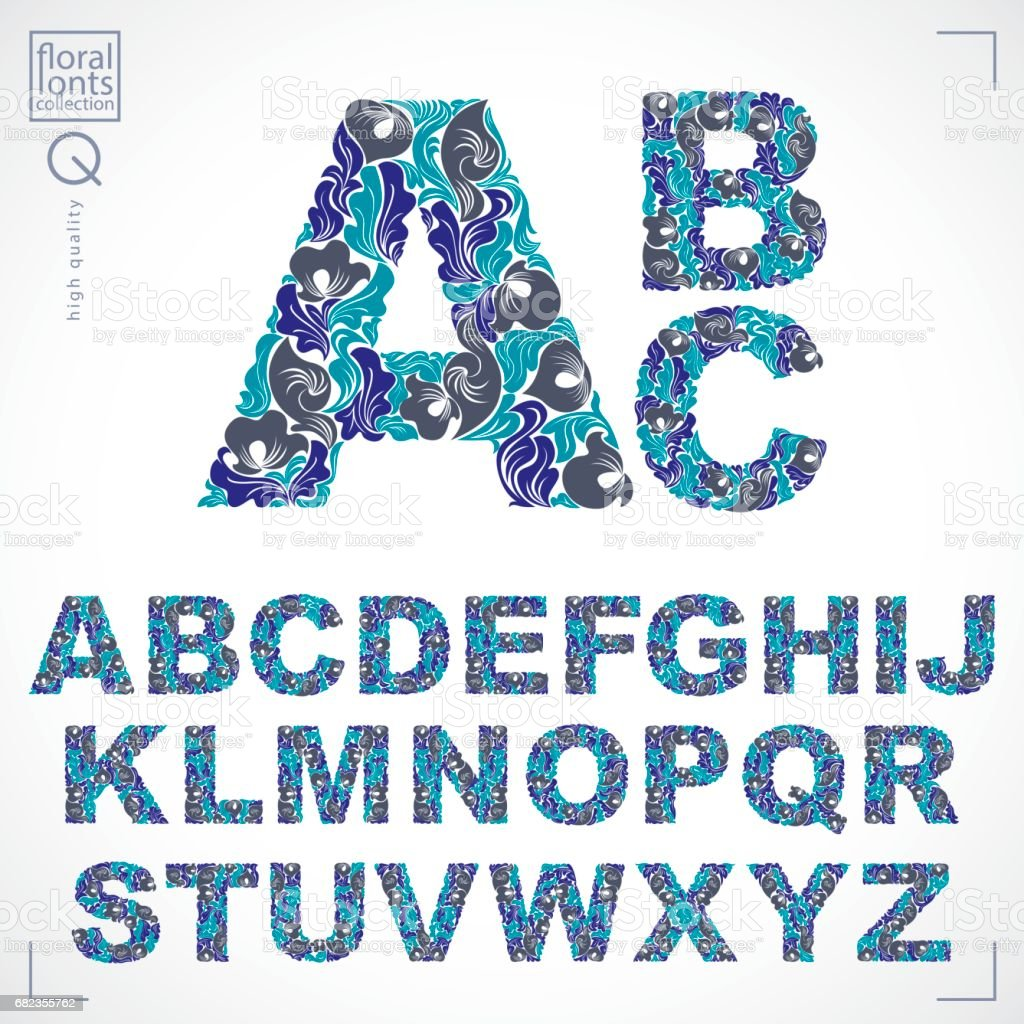 Ecology style flowery font, blue vector typeset made using natural ornament. Alphabet capital letters created with spring leaves and floral design. ecology style flowery font blue vector typeset made using natural ornament alphabet capital letters created with spring leaves and floral design - immagini vettoriali stock e altre immagini di alfabeto royalty-free