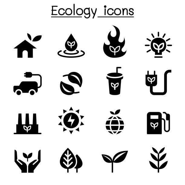 ecology & sustainable lifestyle icon set - sustainability stock illustrations