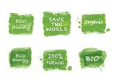 Ecology symbol, sign and icon set of green brush paint watercolor, vector illustration