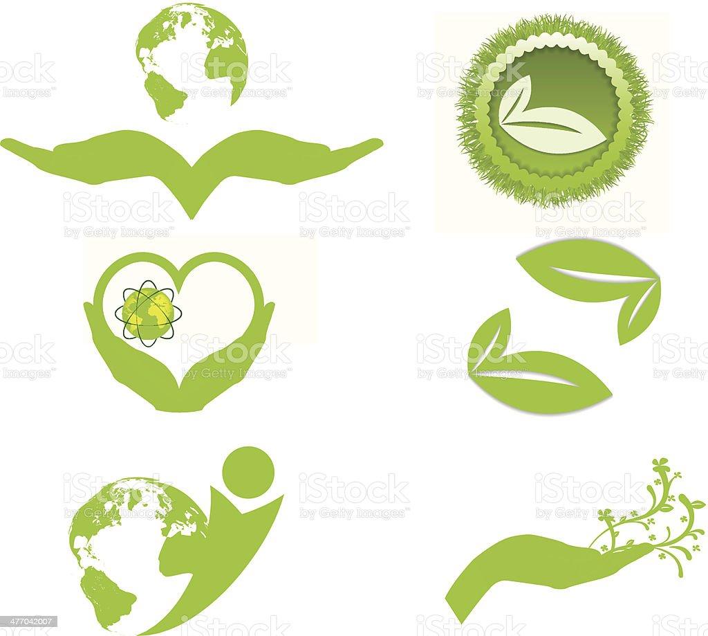 Ecology symbols and logo vector art illustration