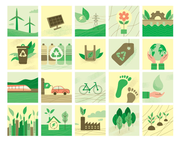 Ecology symbols collection Environmental conservation symbols for multiple purposes. Editable vectors on layers. urban gardening stock illustrations