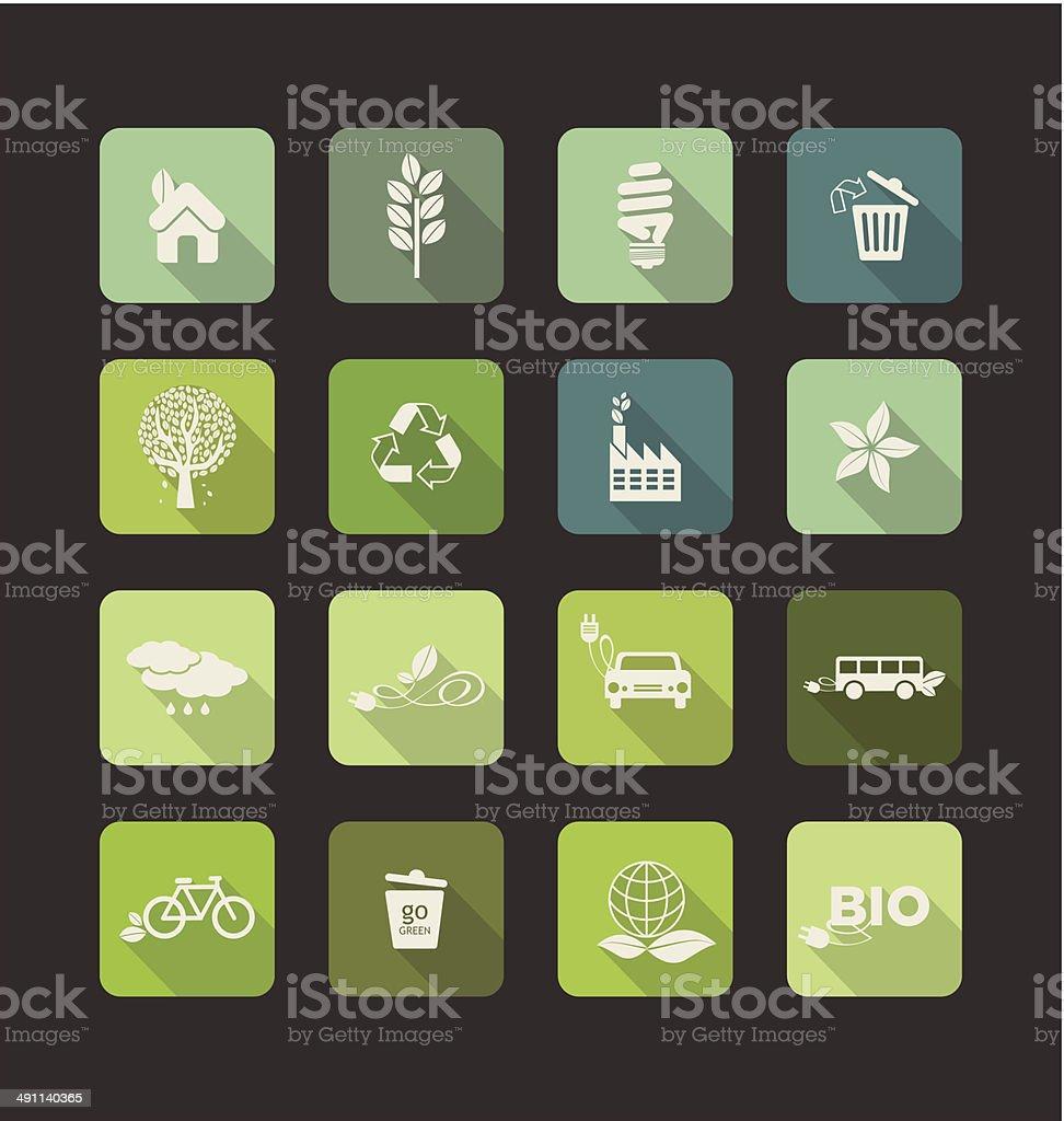 Ecology vector flat icons set royalty-free stock vector art