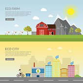 Ecology vector green town and farm infographic