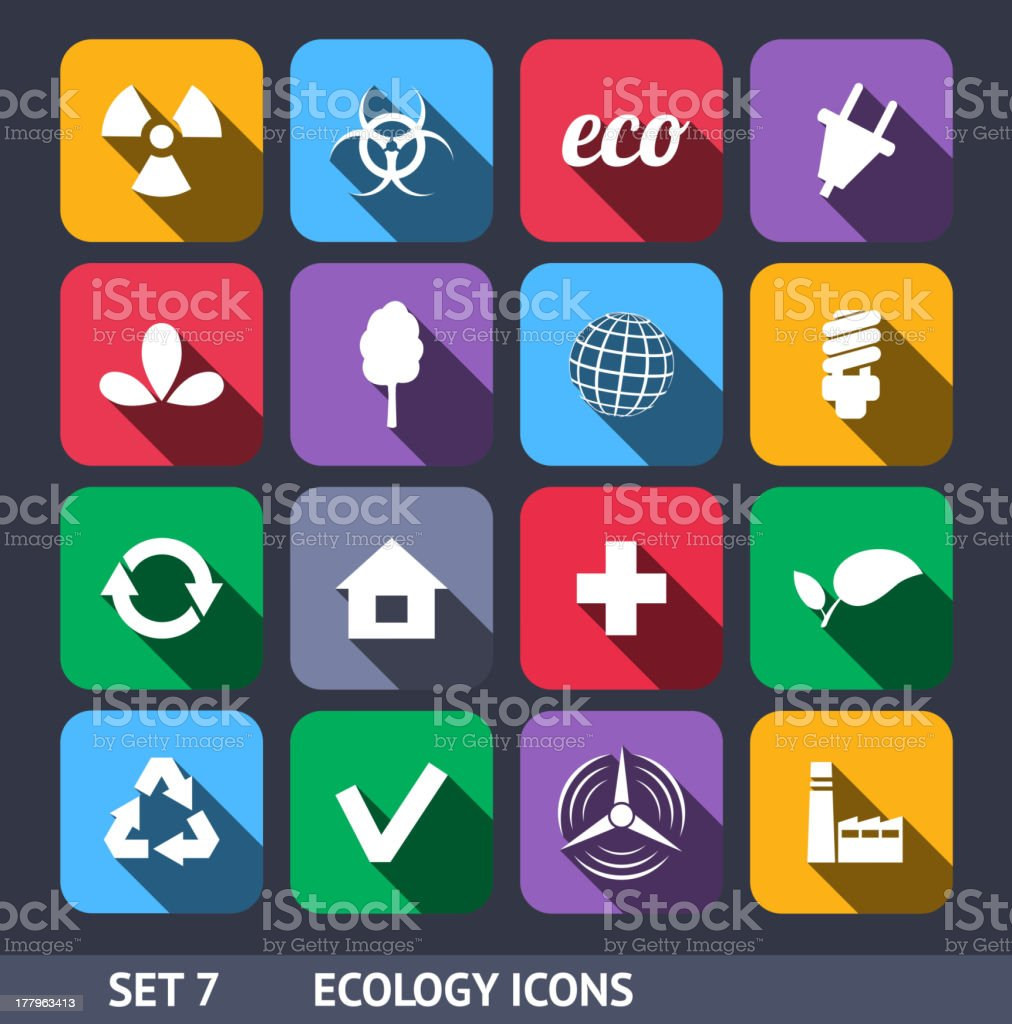 Ecology Vector Icons With Long Shadow Set 7 royalty-free stock vector art