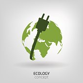 Vector illustration of earth globe with power cable, ecology concept,  power saving