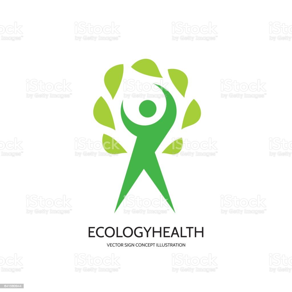 Ecology Vector Logo Template Concept Illustration Health Wellness Sign Nature Symbol Human Character With Green Leaves Logo Design Element Stock