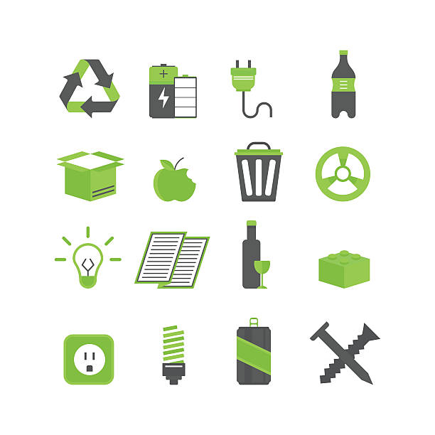 ilustrações de stock, clip art, desenhos animados e ícones de ecologia resíduos de triagem e reciclar conjunto de ilustração vetorial de ícones - box separate life