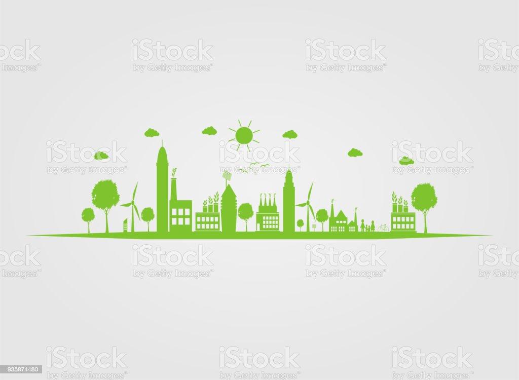 Ilustración de Ciudades Ecologygreen Ayudan Al Mundo Con La ...